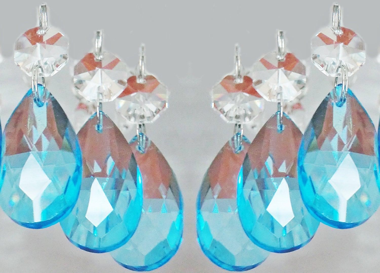 12 Aqua Teal Blue Chandelier Drops Glass Crystals Droplets Oval ...