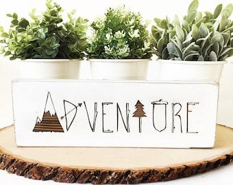 Rustic Adventure Wood Block Sign