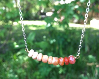 Ombre mexican fire opal necklace on sterling silver wire and chain