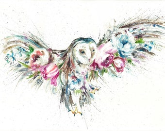 A4 Giclee print Barn owl , owl floral design print  watercolour art print by nicola jane rowles