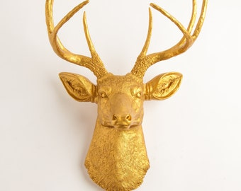 Gold Deer Head Mount by White Faux Taxidermy- The Franklin - Gold Resin Faux Deer Head- Buck head Faux Taxidermy Hanging Wall Decor Ornament