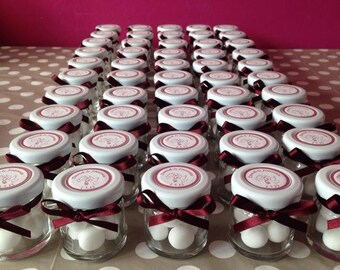 Handmade personalised wedding favour sweet jars (set of 10) in any colour scheme (blue, red, pink, silver, purple, gold, turquoise etc)