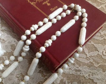 Sara Coventry Vintage 1960s White Plastic Lucite Beaded Necklace