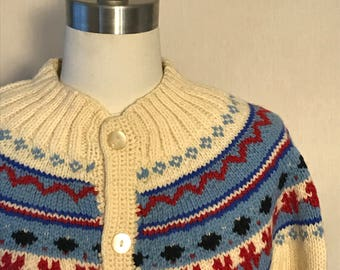 """Vintage 1970s handmade """"Made Especially for you by Beth Tipton"""" button down ski sweater"""