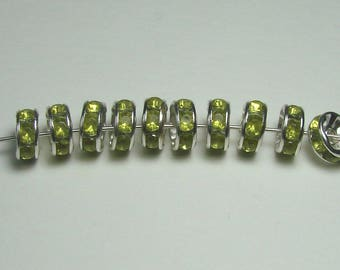 Set of 10 beads, 8 mm, silver, rhinestone rondelles lime green.