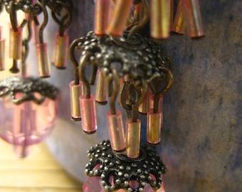 Pink Chandelier  Earrings, Shimmering Tiered,  Dangle Hooks , Vintage Beaded Jewellery