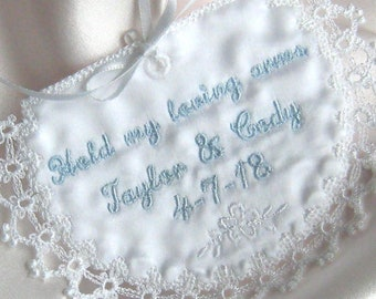 WEDDING MEMORY POCKET, to hold a treasured keepsake in your gown!  Satin pocket with tatted edging, Ribbon Ties for Security, Personalized