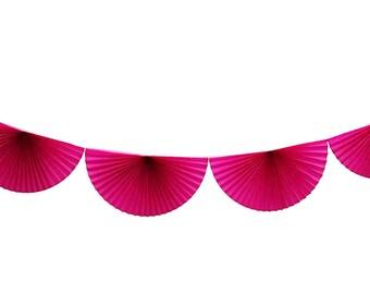 FUCHSIA tissue pinwheel garland. 10 feet.  Cerise scallop bunting. Bright pink tissue fan bunting.  Fuchsia rosette party garland.