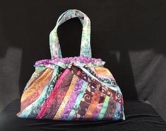 Batik Strip Quilted Bag