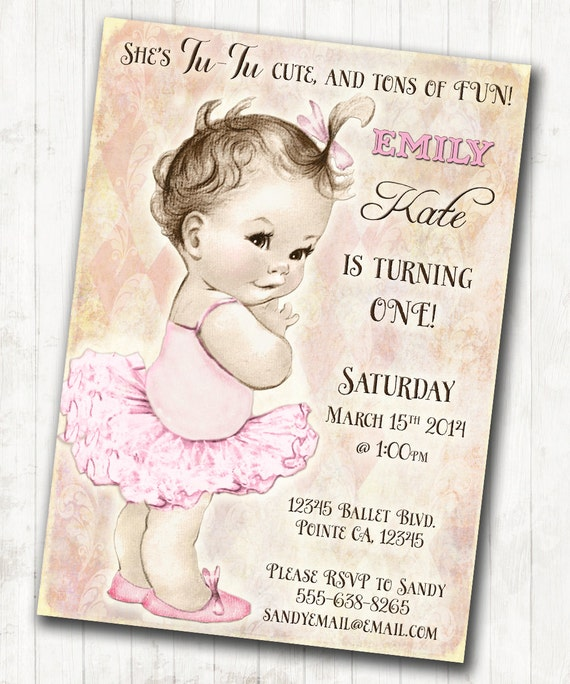 Ballerina birthday ballerina invitation first birthday like this item filmwisefo Image collections