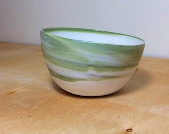 Tilt Bowl - Avacado Green Swirl- READY TO SHIP