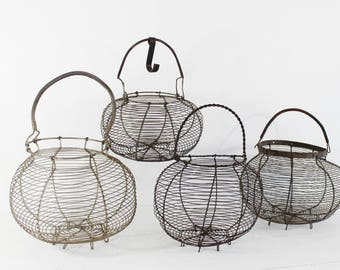 Wire Egg Basket Antique - French Basket, Handmade Metal Wire Basket, French Egg Basket, Rustic Wire Basket, Farmhouse basket, Country