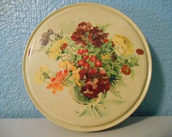 Vintage round floral tin, Helen Harrison Candy tin, Chicago keepsakes, Floral tin, Candy tin, Flowers