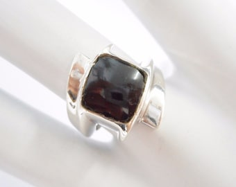 Enamel Ring, Sterling Ring, Vintage Ring, Black Enamel Ring, Vintage Heavy Sterling Silver Black Enamel Band Ring Sz 6.75 #1880