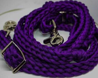 Barrel reins , horse tack ,paracord reins, purple reins, purple horse tack, reins, western tack, custom barrel reins, horse, horse gift