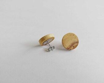 Wooden Stud Earrings, Pecan Wood, Earrings for Women, Gift For Her, Wooden Earrings, Minimalist Earrings, Wooden Jewelry, Unique Earrings