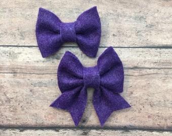 Purple Felt Bow on Metal Clip or Elastic Headband; Buy 3 Get 1 Free! Small Felt Hair Bow, Purple Hair Bow, Purple Felt Bow
