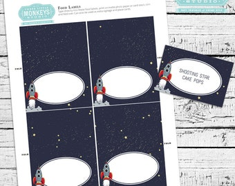 Retro Rockets & Robots Outer Space Fillable Food Labels - INSTANT DOWNLOAD