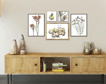Fruits And Flowers, Set Of 5 Prints, Gallery Wall Art, Yellow Orange Dining