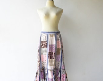 Vintage 1970s Boho Skirt / 70s Patchwork Novelty Skirt / Size M