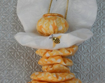 Yellow Garden Angel Fairy Ornament with Bumblebee