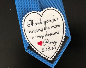 Father of the Groom Gift From Bride, Embroidered Personalized Heart Tie Patch, Thank you for raising man of my dream, iron on or sew
