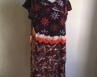 Vintage Deep Purple Star Print Batik Rayon Dress • Free Size Dress
