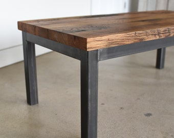 "Industrial Steel Frame Coffee Table | 2"" Reclaimed Chunky Table Top"