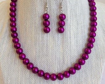 Magenta Pearl Necklace, Womens Beaded Necklace, Bridesmaid Wedding Jewelry, Glass Beaded Necklace, Gift for Her, Purple Necklace Set