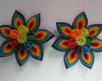 Kanzashi Tsumami Fabric Flowers. Set of 2 Hair Clips. Rainbow Flower. Grosgrain Ribbon