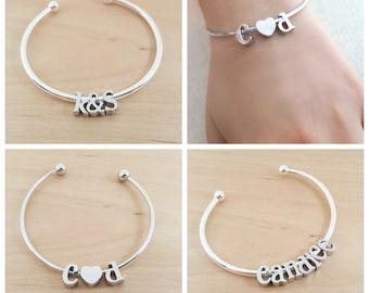 Silver Initial Bangle Bracelet - Alphabet Charm Bracelet - Name Bracelet - Adjustable Silver Bracelet - Custom Name Bracelet - Gift For her