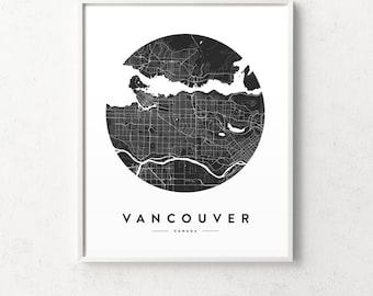 Vancouver poster etsy vancouver map vancouver print vancouver city poster map of vancouver map prints gumiabroncs Choice Image