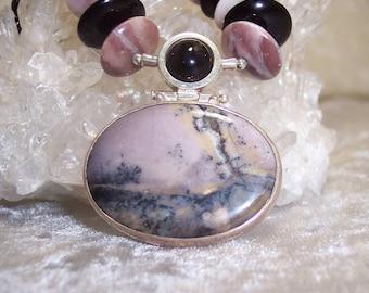 VINTAGE PAINTING - Necklace in Amethyst Sage, Porcelain Jasper, Rhodonite, Black Onyx, and Sterling Silver