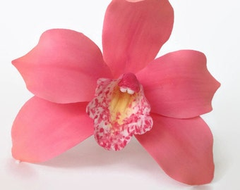 Cymbidium Orchid Sugar Flower, coral gumpaste orchid for Wedding cake toppers, bridal showers, diy brides, cake decoration
