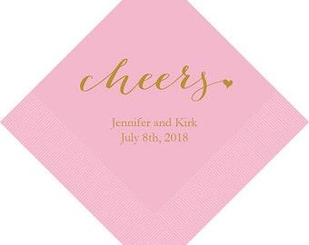 Set of 100 Cheers Wedding Napkins - Paper Wedding Napkins - Personalized Wedding Napkin - Cocktail Wedding Napkin - Luncheon Wedding Napkin