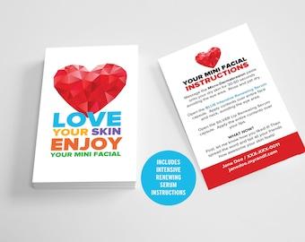 Rodan and Fields, Give It A Glow, Mini Facial Cards, Glow Mini Facial Card, Floral, Heart, Instructions, Digital, Printable