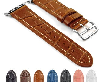 DASSARI Croc Embossed Leather iWatch Band Strap for Apple Watch w/ Hermès Buckle 38mm 42mm
