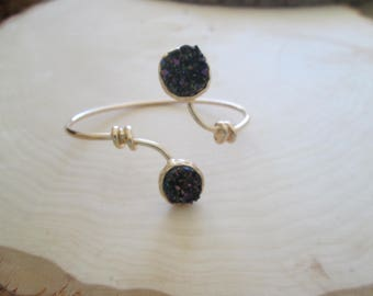 Druzy Open Cuff Bangle Bracelet - Rainbow Hematite