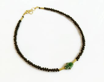 Beaded Hamsa Necklace, Beaded Choker, Khaki Green Choker Necklace, Unisex Boho Choker