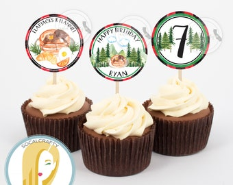 Flapjacks and Flannel Cupcake Toppers, Pancake Cupcake Toppers, Matching Pancake Cupcake Toppers, Pancakes, DIY Printable Party Supplies