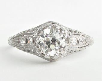 Traub Orange Blossom Platinum 1 Carat VVS2 Old European Cut Diamond Filigree Deco Engagement Ring - 1.24 CTW! GIA G.G. Appraisal 8,290 USD!