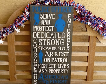 Sale Police Officer Sign Hand painted LEO America's Finest typography wall art Law Enforcement Police Department Police Gift Blue Line