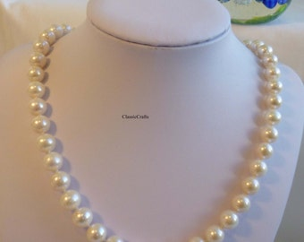 Solid silver genuine circle 10-11mm freshwater pearl necklace+earrings set White