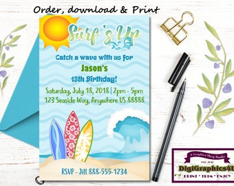 Surfing, Surf's Up, Beach Party Birthday Invitations for Boys - Personalized Digital File