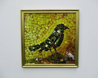 ships for a penny ! includes frame / gold blackbird print / golden beach bird print / hostess gift giclee / mosaic bird print/ grackle print