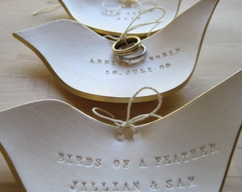 personalized CUSTOM ring dish- Dove Ring Bearer Bowl- original wedding ring plate by Paloma's Nest- with Gold, Silver, or Plain rim
