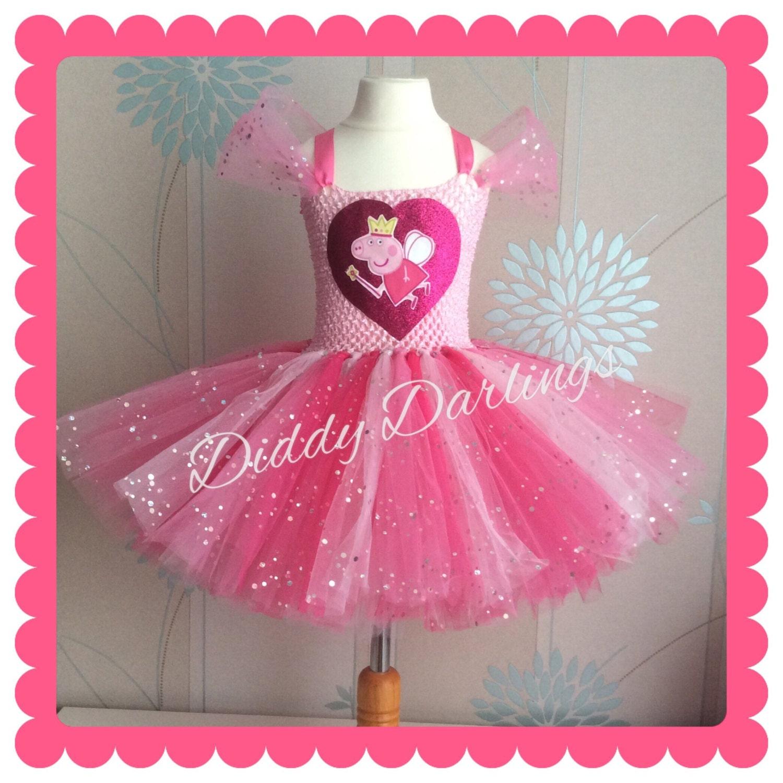 Sparkly Peppa Pig Tutu Dress Inspired Handmade Tutu Dress
