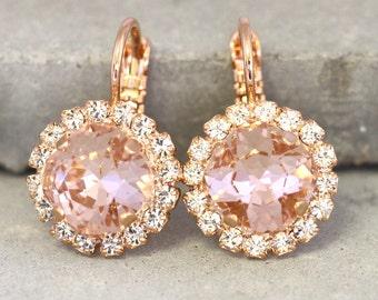 Blush Earrings,Pink Blush Dangle Earrings,Swarovski Blush drop Earrings,Bridal Blush Earrings,Bridesmaids Light peach Earrings,Pink Earrings
