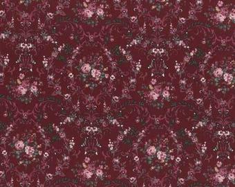 Rose Life Garden Burgundy Floral Cotton Woven By Lecien Fabrics