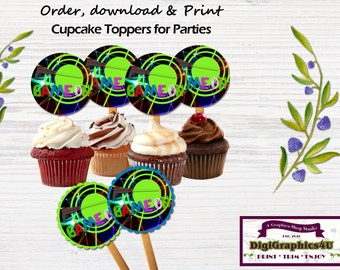 Laser Tag Cupcake Birthday Toppers, Stickers or Party Favors, Printable Digital File - Instant Download